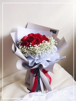 TOKYO – VALENTINE'S DAY RED ROSE & WHITE BABY'S BREATH BOUQUET
