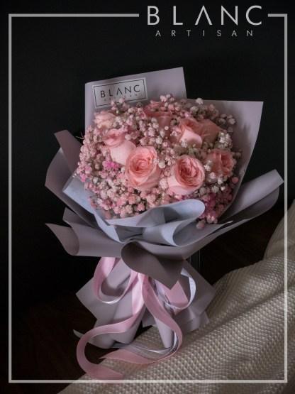 VALENTINE'S DAY PINK ROSE & PINK BABY's BREATH BOUQUET
