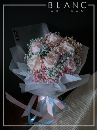 NARA – VALENTINE'S DAY PINK ROSE & RAINBOW BABY'S BREATH BOUQUET