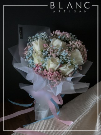 NISEKO – VALENTINE'S DAY WHITE ROSE & RAINBOW BABY'S BREATH BOUQUET