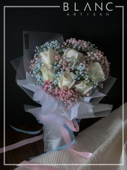 NISEKO – VALENTINE'S DAY WHITE ROSE & RAINBOW BABY'S BREATH BOUQUET