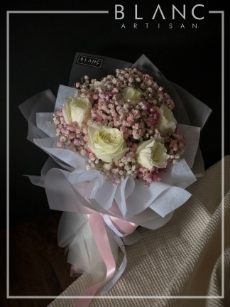 SAPPORO – VALENTINE'S DAY WHITE ROSE & PINK BABY'S BREATH BOUQUET