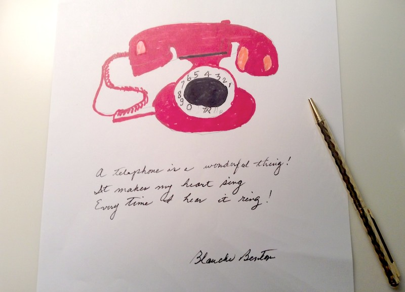 Every time I hear it ring - poem and drawing by Blanche Benton