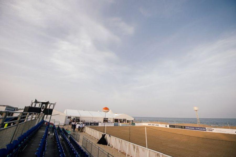 sandbanks beach polo arena from above