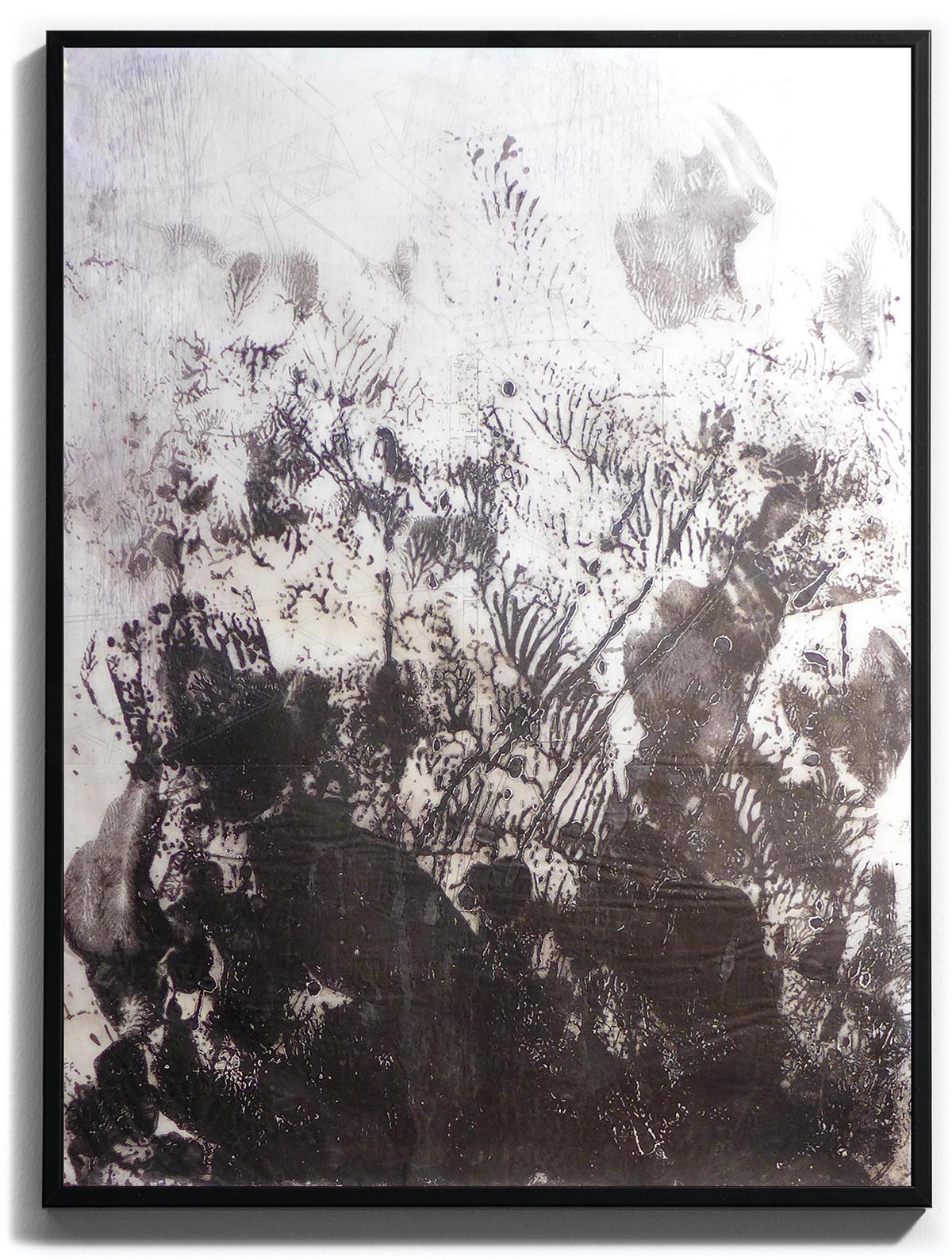 ce qu'il faut aux yeux pour se fermer, pièce unique sur papier Wenzhou 30g marouflé, monoprint. Techniques : pointe sèche, carborundum, blandine galtier ©