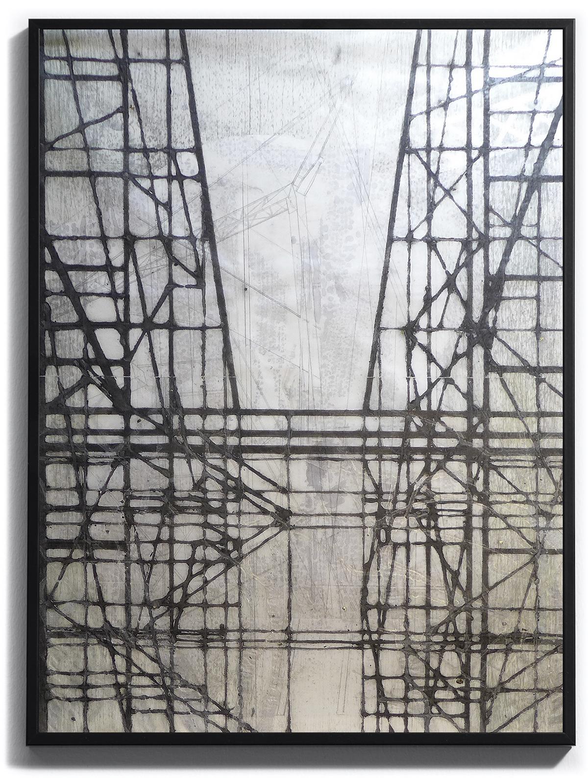 jusqu'au ciel vers de plus haut étages, pièce unique sur papier Wenzhou 30g marouflé, monoprint. Techniques : pointe sèche, carborundum, blandine galtier ©