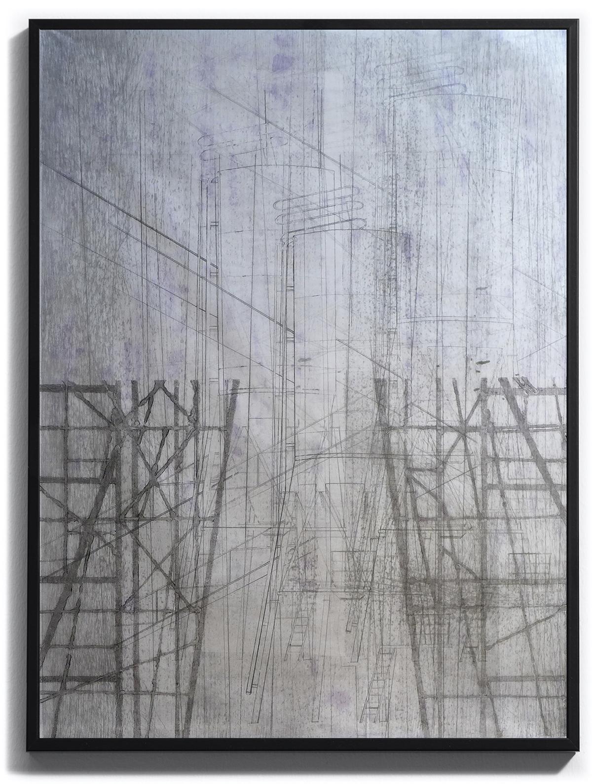 le long du fleuve une lueur ouatée, pièce unique sur papier Wenzhou 30g marouflé, monoprint. Techniques : pointe sèche, carborundum, blandine galtier ©