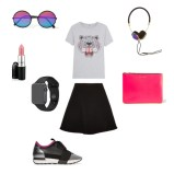 Top: Kenzo, Skirt: Sandro, Shoes: Balenciaga, Watch: Apple, Lipstick: MAC, Headphones: Frends, Clutch: Comme Des Garcons, Sunglasses: Sunday Somewhere