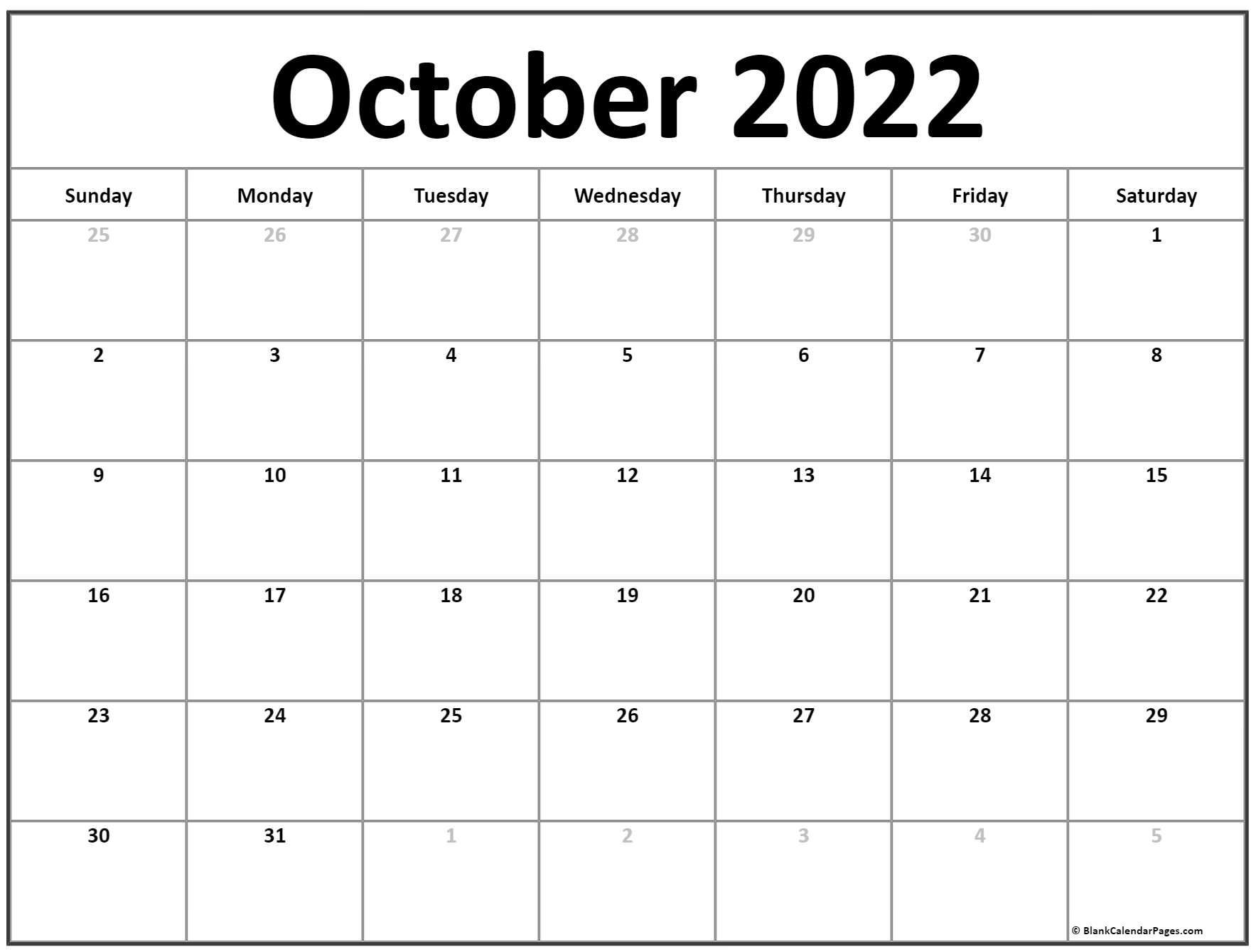 Keep a cat and pumpkin company on a magical night. October 2022 calendar | free printable calendar templates