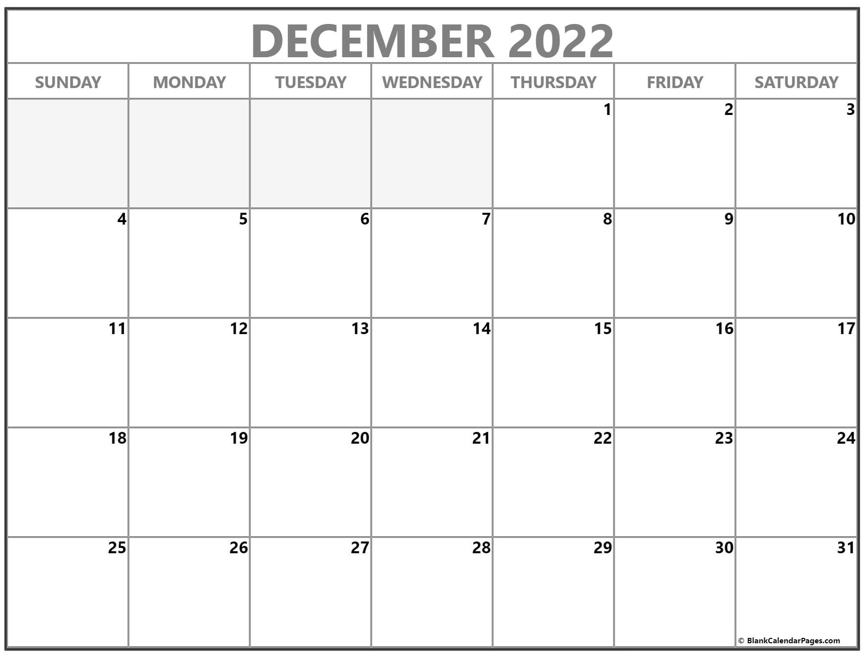 Blank calendar for the year 2022. December 2022 calendar   free printable calendar templates