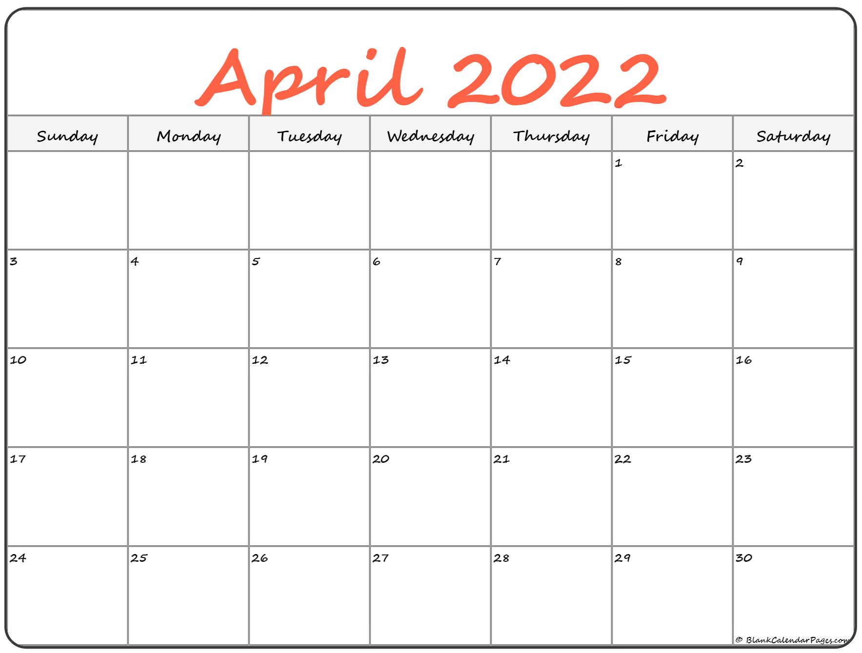 You can select letter size, a4, a3 as per the. April 2022 calendar   free printable calendar templates