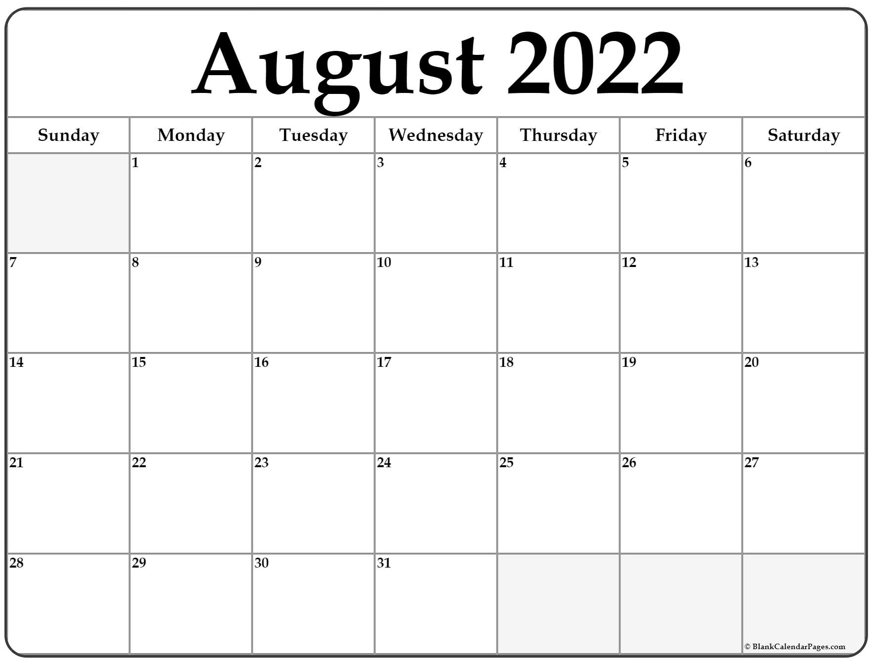 From parents.com parents may receive compensation when you click through and purchase from links contained on this website. August 2022 calendar | free printable calendar templates