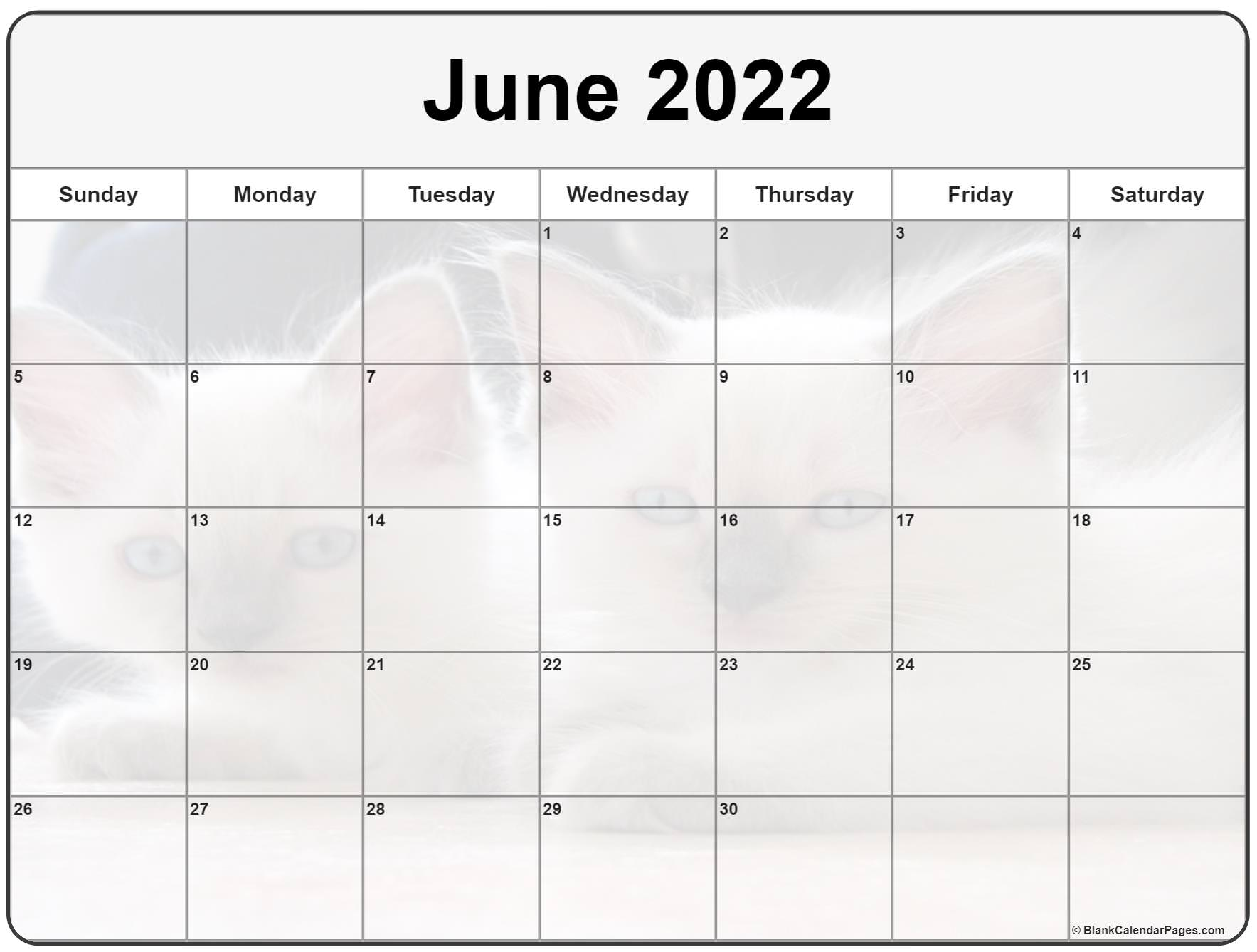 This month consists of a total of 30 days per month. Collection of June 2022 photo calendars with image filters.