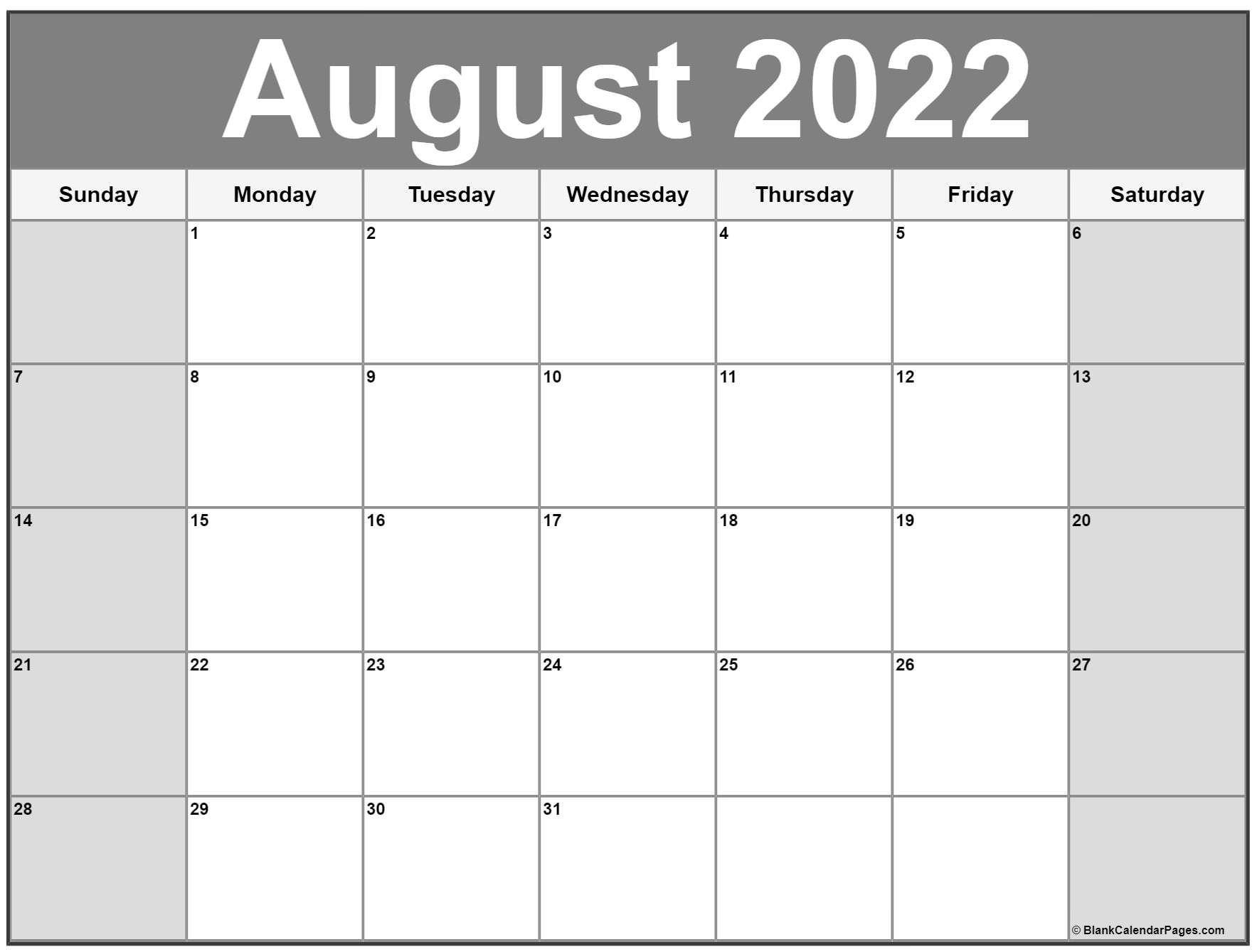 2022 free monthly calendar templates this 2022 calendar with clean bold letters and numbers can be printed in mini happy planner size, classic happy planner size, or big happy planner size. August 2022 calendar | free printable calendar templates