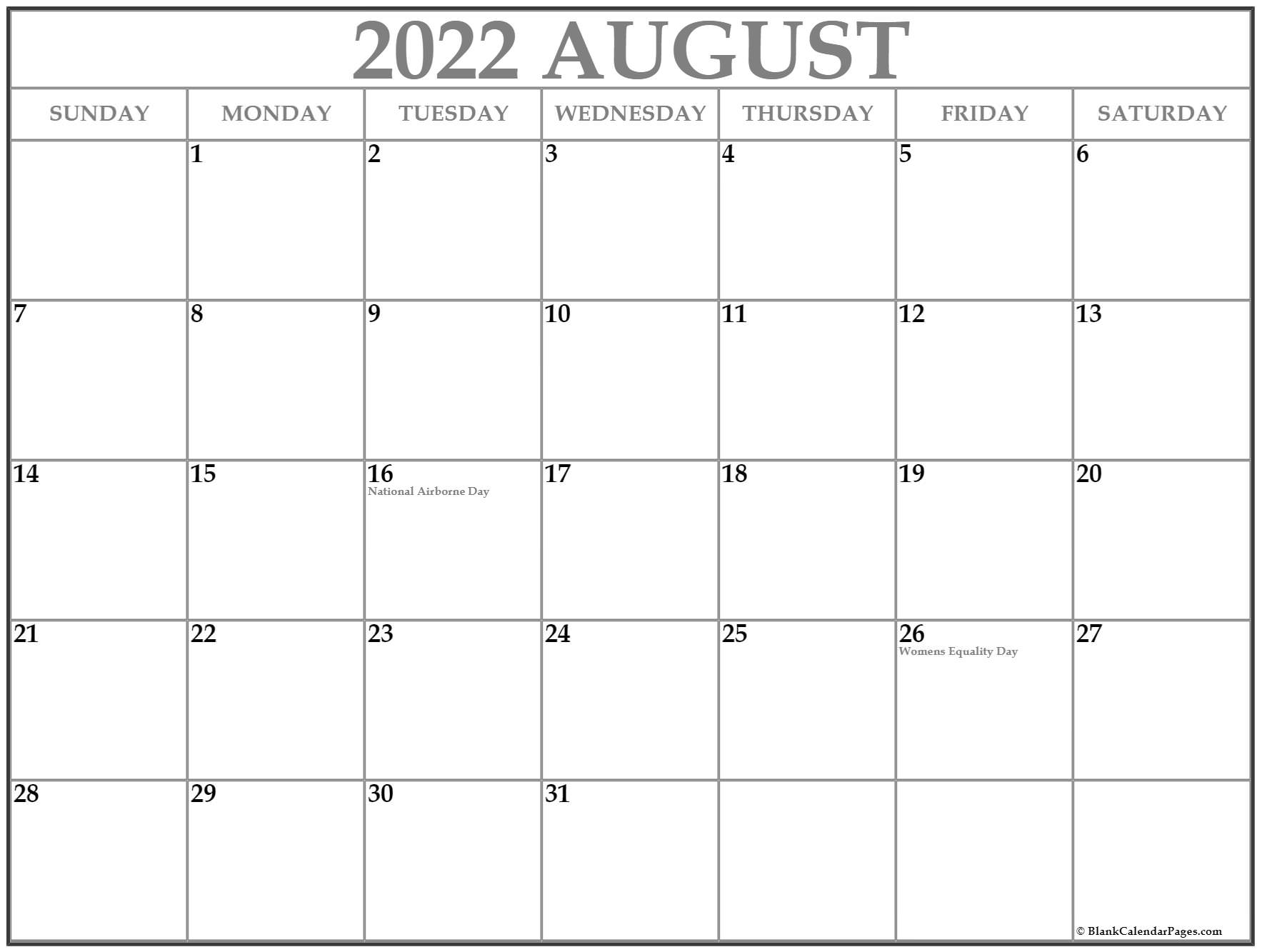 Moreover, the month of august has no federal holidays. August 2021 with holidays calendar