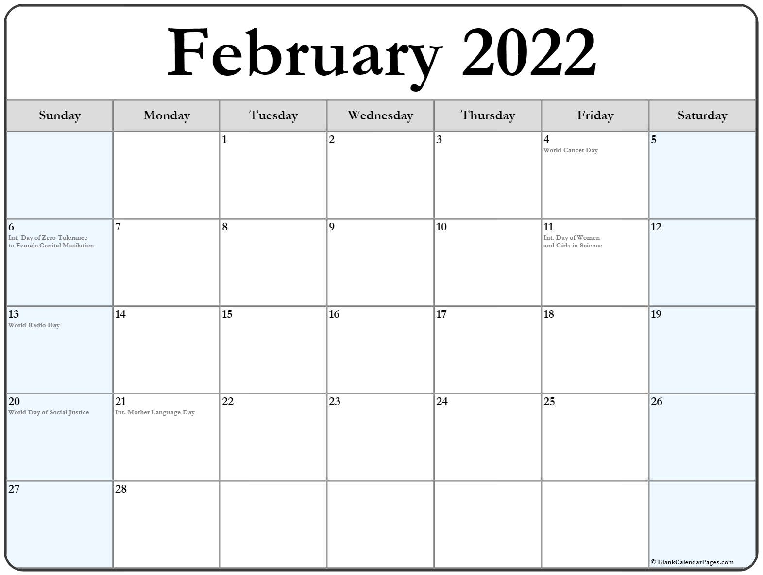 It seems like everyone is busier these days, and keeping up with everything from work deadlines to kids' sports practices to your pet's vet appointments can make things complicated — there's a lot to juggle, after all. February 2022 calendar with holidays