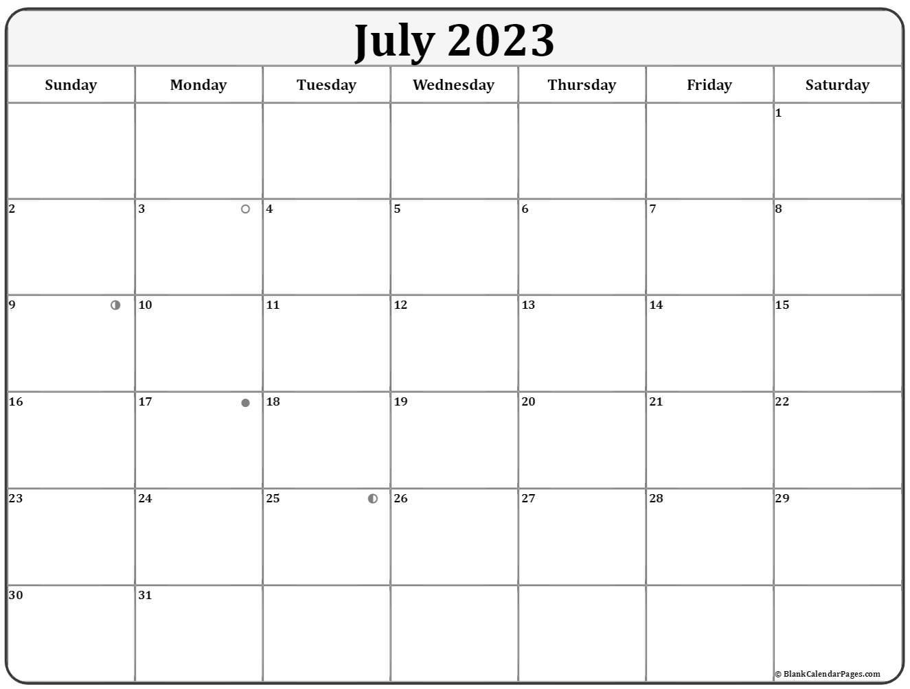 July Lunar Calendar