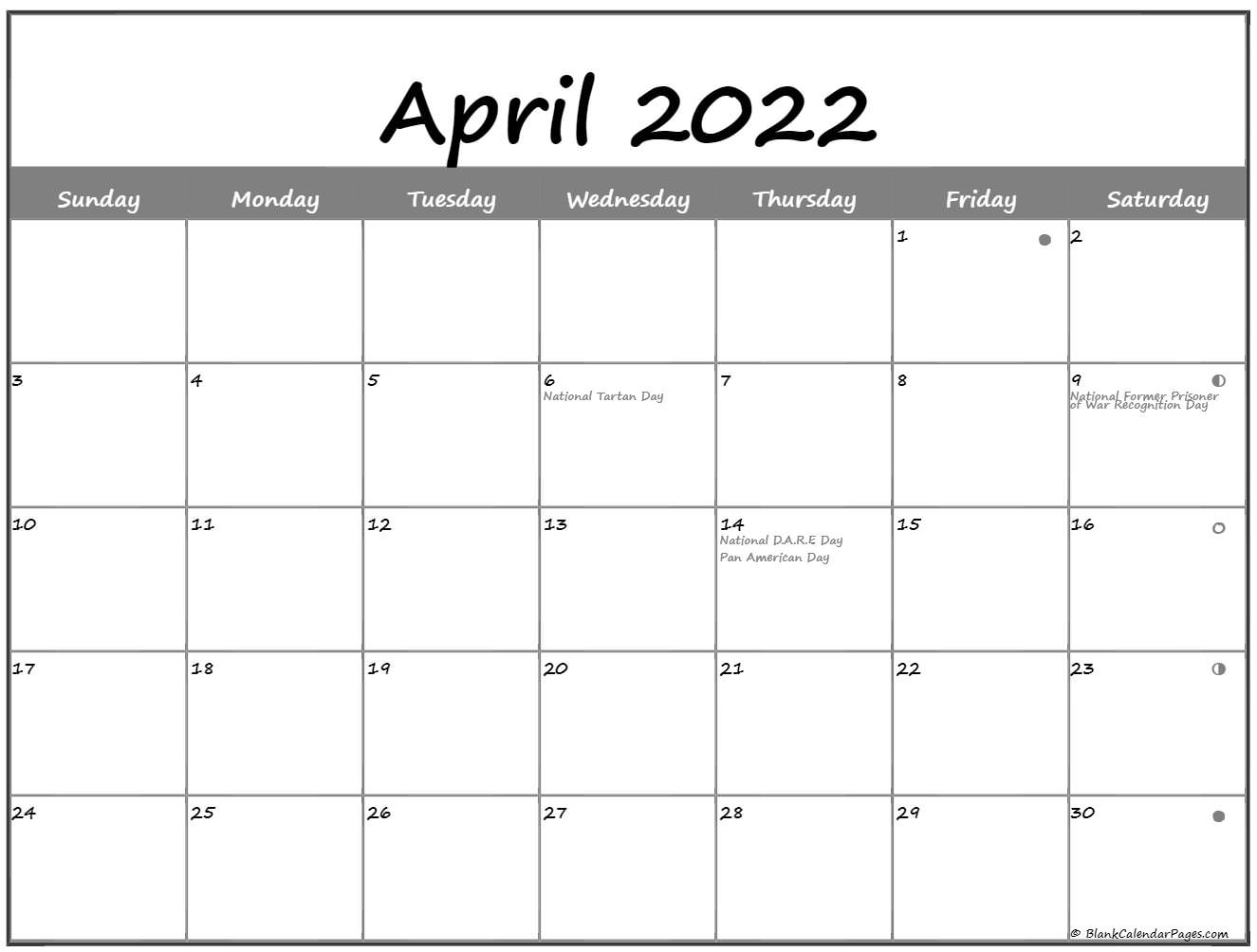 April Lunar Calendar