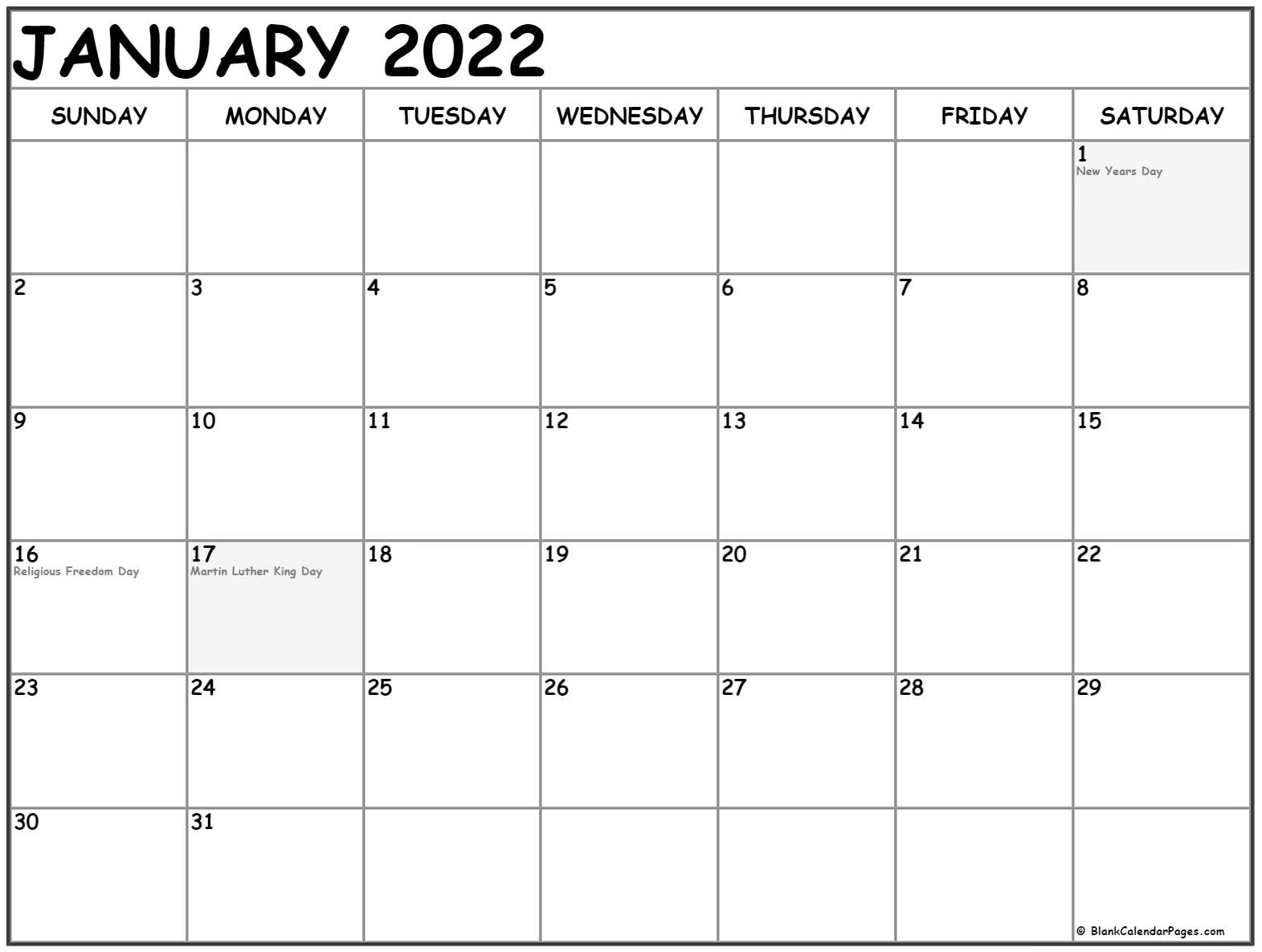 Collection Of January Calendars With Holidays