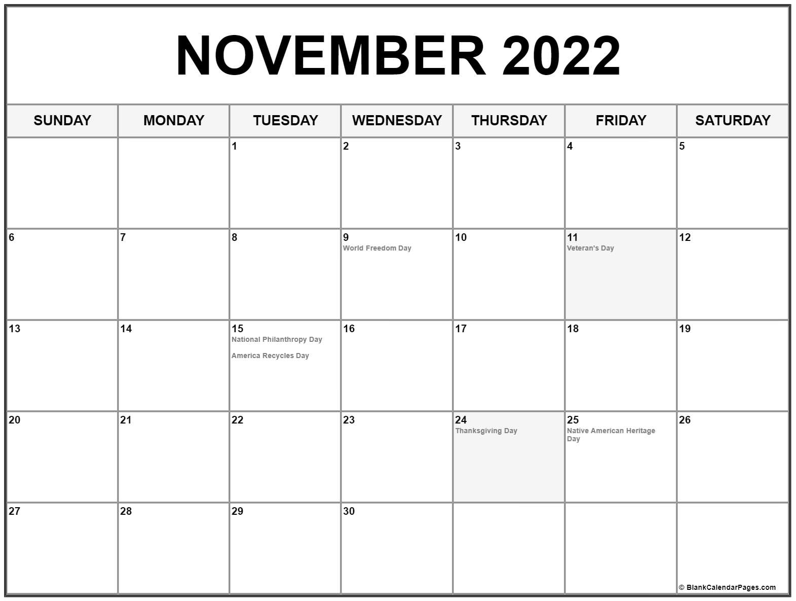 Sometimes it is handy to have a calendar for your current month on your cubical wall. November 2022 calendar with holidays