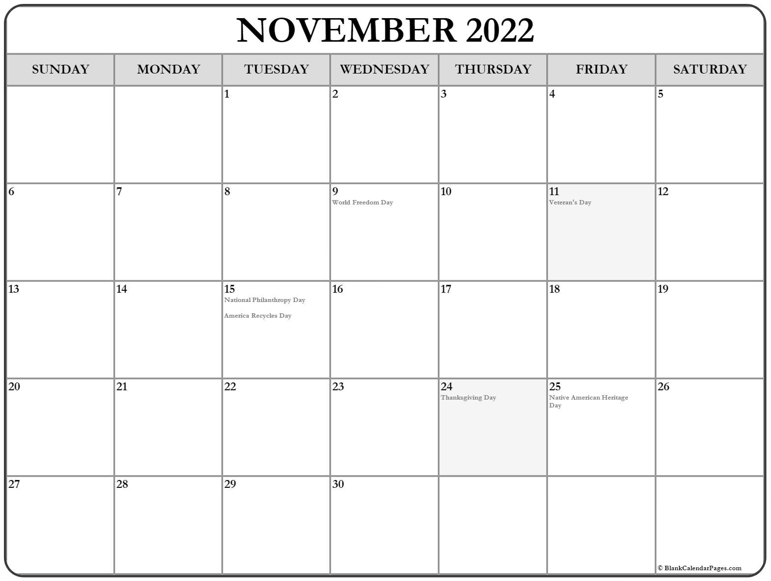 If you have any questions regarding these events, please contact us. November 2022 calendar with holidays