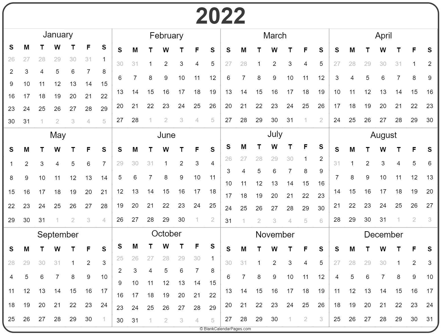monthly 2022 free printable calendars for you! 2022 year calendar | yearly printable