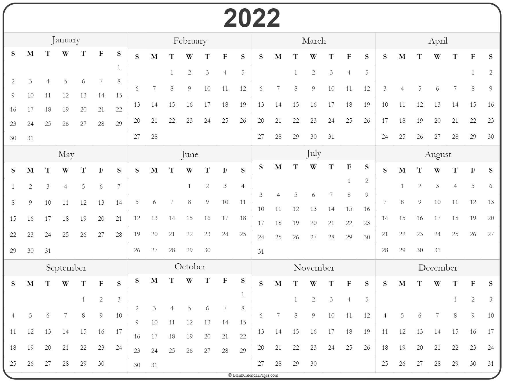 free printable 2022 monthly printable calendar. 2022 year calendar | yearly printable