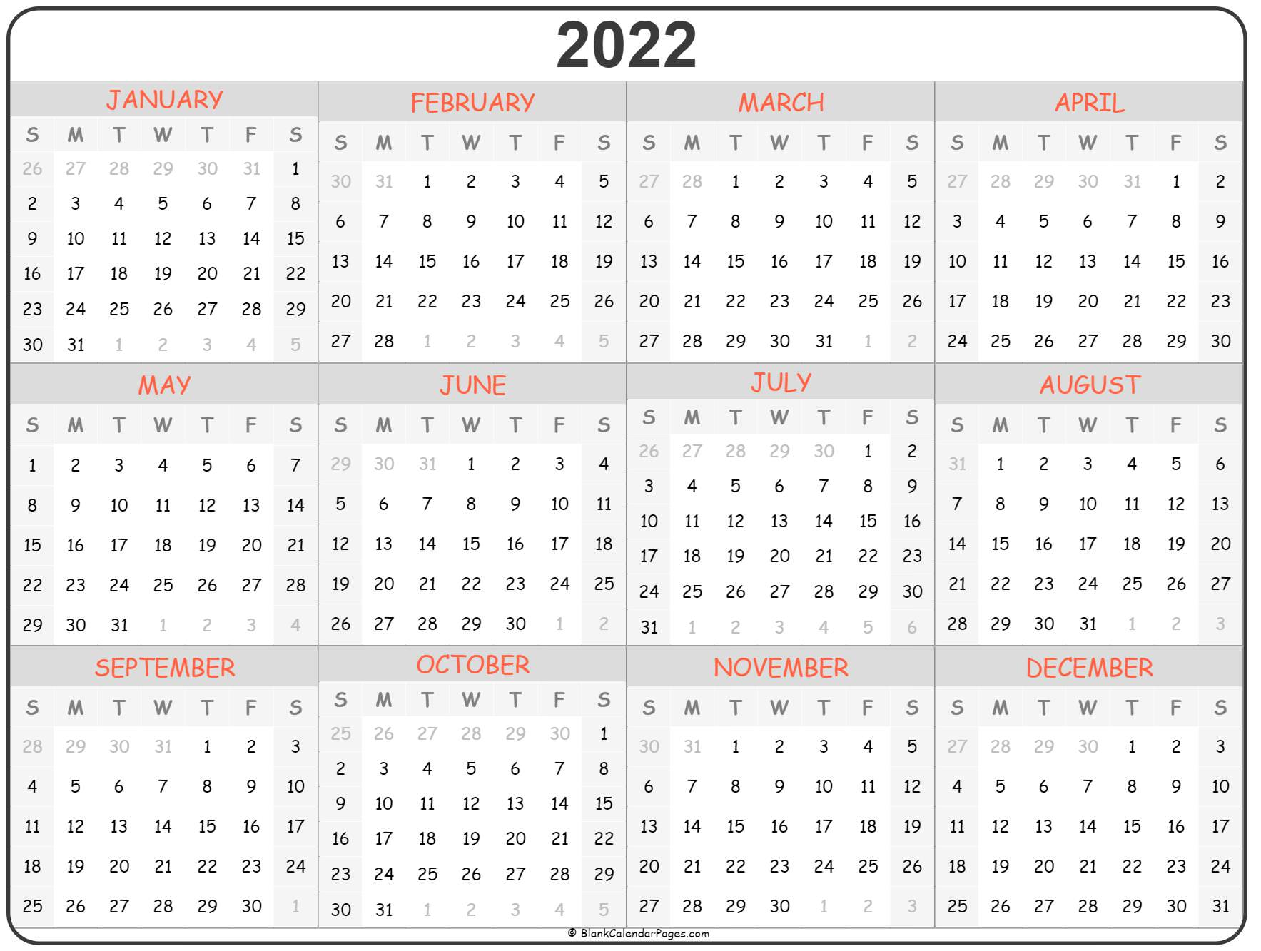 Download 2022 blank calendars designed to fit four months per page. 2022 year calendar | yearly printable