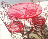 Red French Bistro Chairs and Table
