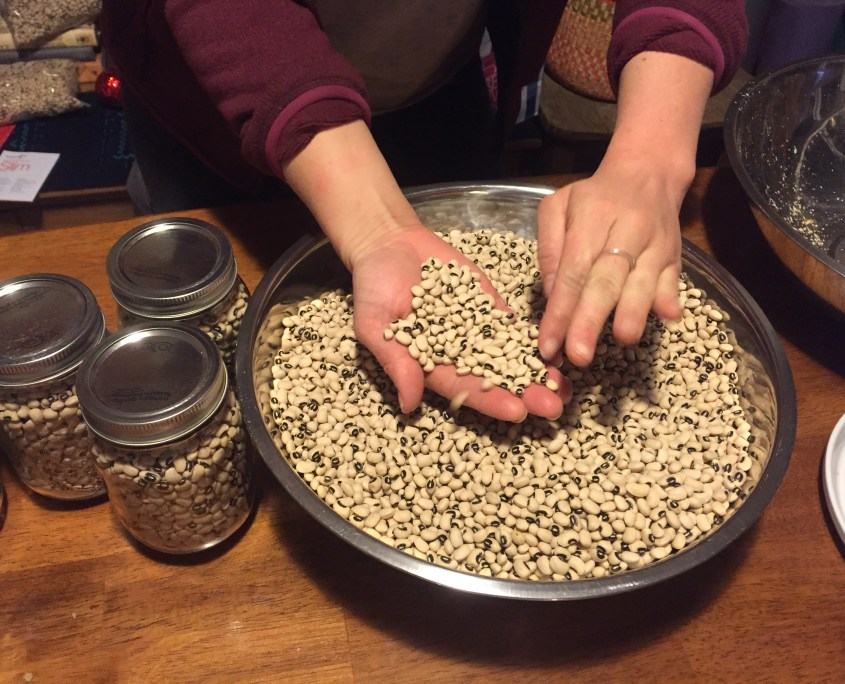 Picking through blackeyed peas