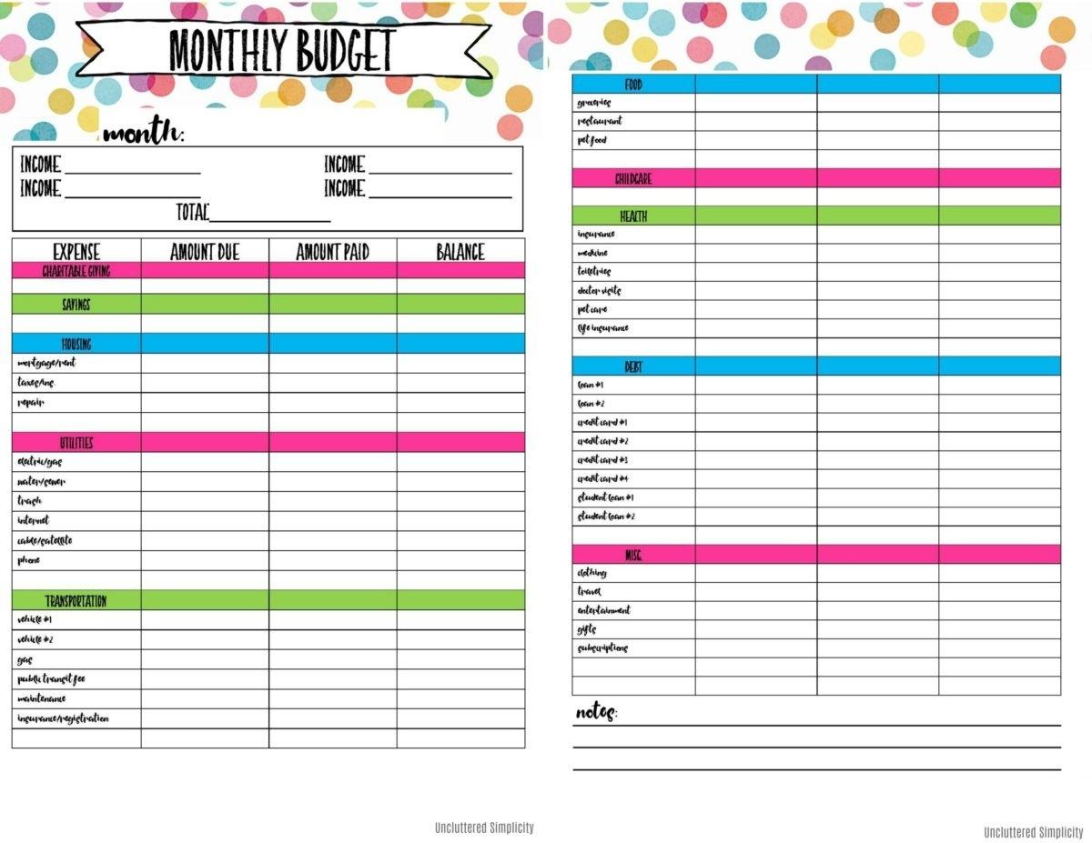 Free Printable Budget Planning Worksheets Blank Calendar