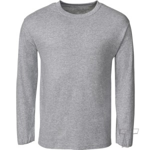 QUOZ Men Brand Long Sleeve Tee Grey Marle Front