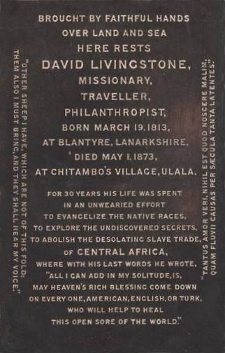 1873 Tomb of David Livingstone
