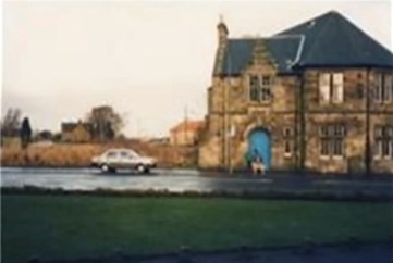 1989 The Old Parish Church Halls, just before demolition. High Blantyre Main Street. This is photographed from near the pit explosion monument, the halls now the site of the care home.