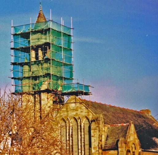 Livingstone Church repairs. 2003 Photo by Robert Stewart