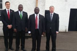 2014 MSP Tom Gretreax and James Kelly with visitors from Zambia at David Livingstone Centre Blantyre