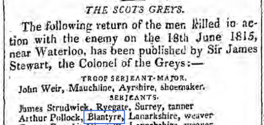 1815 Scots Grays killed at Waterloo