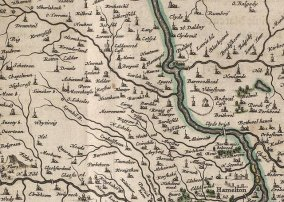 1654 Map of Lanarkshire & Glasgow incl Blantyre.