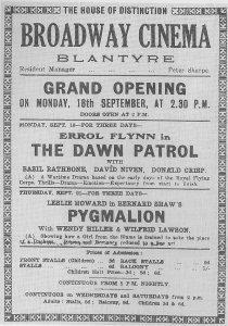 1939 Broadway Cinema opens, Blantyre