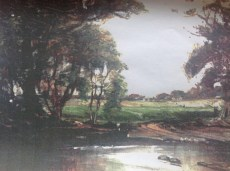 c1900 Painting Uddingston across from Boatland