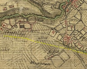 "1747 map showing Greenhall, as ""Greinhall"""