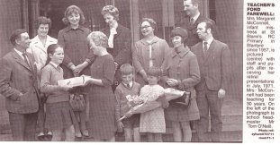 1971 Margaret McConnell infant teacher retires from St Blanes