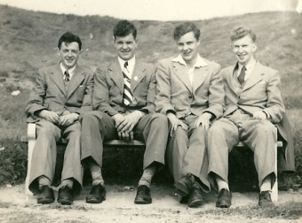 1953 June. Tom Proudfoot, Andrew Scobie, Muir Wasson, Ronnie McFarlane