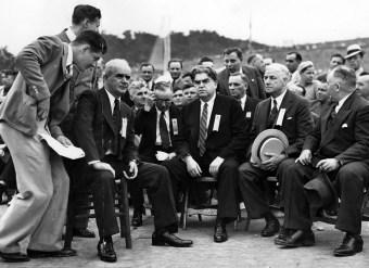 1952 Philip Murray seated left, American Industry Heavyweight born Blantyre.