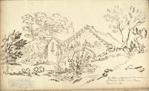 1799 Sketch of Milheugh Mill by Jean Claude Nattes