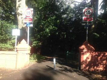 27th August 2014 Greenhall entrance. A Bollard preventing access!