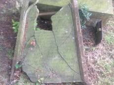 2014 Kirkyard Gravestone damaged. (PV)