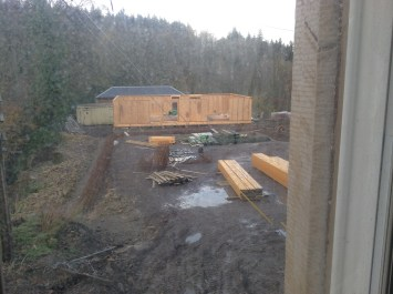 2014 View from Crossbasket Castle of Function room being built