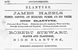 1879 Adverts in Blantyre