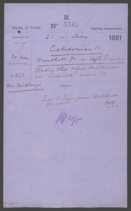 1881 Caledonian Railway Approval